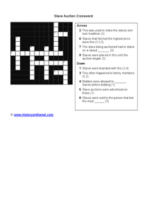 Slave Auction Crossword Worksheet