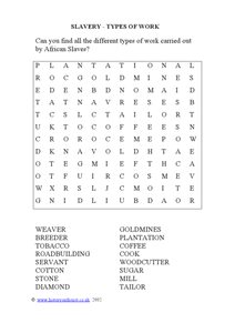 Slavery - Types of Work wordsearch Worksheet