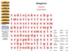 Sleepover: Crossword Worksheet