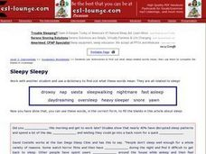 Sleepy, Sleepy- Dictionary Work with Words Related to Sleep Worksheet