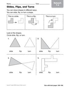 Slides, Flips, and Turns: Reteach Worksheet