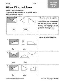 slides flips and turns 3rd 4th grade worksheet lesson planet. Black Bedroom Furniture Sets. Home Design Ideas