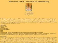 Slim Down to the Good Stuff by Summarizing Lesson Plan