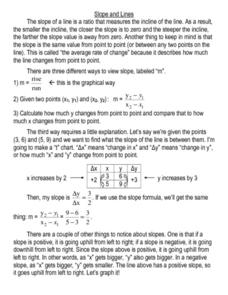 Slope and Lines Worksheet