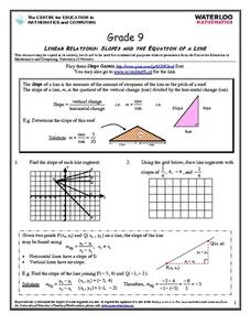 Slopes and the Equation of a Line Worksheet