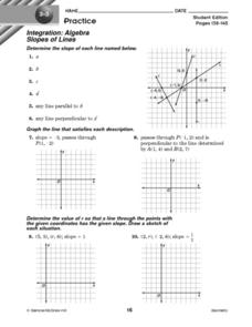Slopes of Lines Worksheet