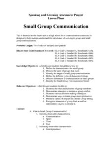 Small Group Communication Lesson Plan