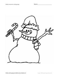 Snowman Coloring Page Worksheet