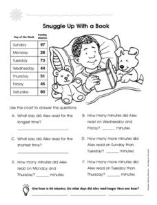 Snuggle Up With A Book: Reading a Chart Worksheet