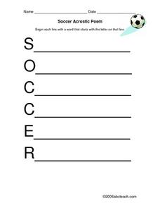 Soccer Acrostic Poem Worksheet