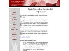 Social Studies: Bush Vetoes Spending Bill Lesson Plan
