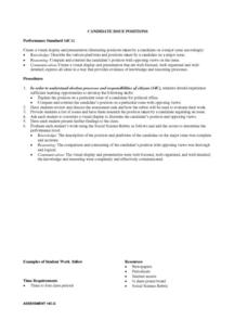 Social Studies: Candidate Issue Positions Lesson Plan
