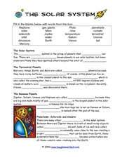 Solar System Cloze Activity Worksheet