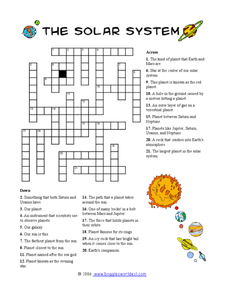 solar system crossword 2 4th 8th grade worksheet lesson planet. Black Bedroom Furniture Sets. Home Design Ideas