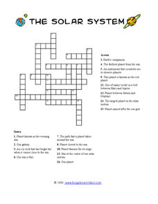 solar system crossword 3rd 6th grade worksheet lesson planet. Black Bedroom Furniture Sets. Home Design Ideas