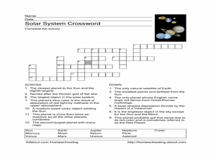 Solar System Crossword Worksheet