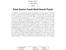 Solar System Vocab Word Search Worksheet