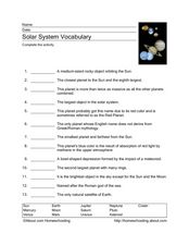 Solar System Vocabulary Worksheet