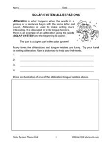 Solar System -- Writing Conventions Worksheet