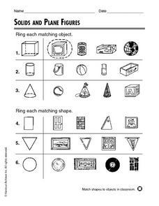 solids and plane figures 2nd grade worksheet lesson planet. Black Bedroom Furniture Sets. Home Design Ideas