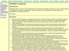 Solubility of Ammonia Lesson Plan