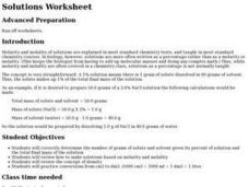 Solutions Worksheet Lesson Plan