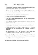Solve 10 Capacity Problems Worksheet