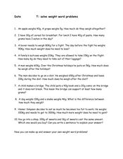 Solve 10 Weight Word Problems Worksheet