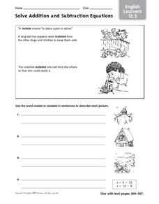 math worksheet : solve addition and subtraction equations esl 4th  7th grade  : Addition And Subtraction Equations Worksheets