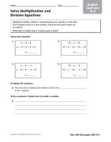 Solve Multiplication and Division Equations: English Learners Worksheet