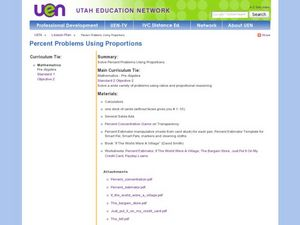 Solve Percent Problems Using Proportions Lesson Plan