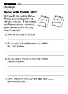 Solve With Marble Math Worksheet