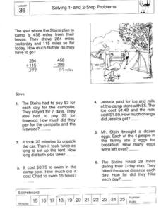 Solving 1-and-2 Step Problems Worksheet