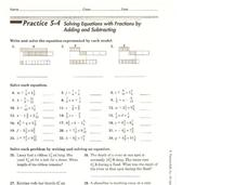 Solving Equations with Fractions by Adding and Subtracting Worksheet