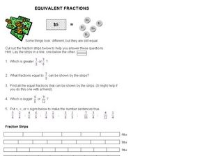 Solving Five Fraction Problems Using Fraction Strips Worksheet