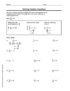 Solving Fraction Equations Worksheet