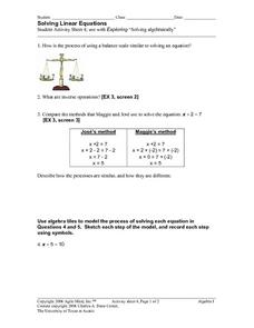 Solving Linear Equations 4 Worksheet