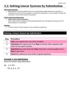 Solving Linear Systems by Substitution Worksheet