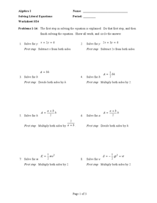 Printables Literal Equations Worksheet solving literal equations worksheet se4 9th 12th grade worksheet
