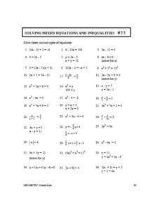 Printables Equations And Inequalities Worksheets solving mixed equations and inequalities 33 10th 11th grade worksheet