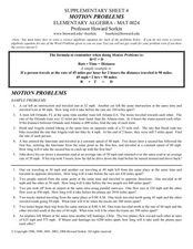 Solving Motion Word Problems Worksheet