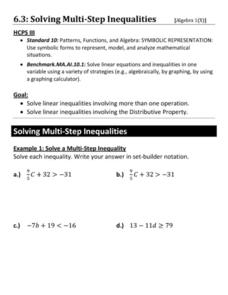 Solving Multi-Step Inequalities Worksheet