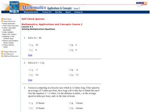 Solving Multiplication Equations Worksheet