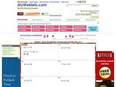 Solving One-Step Addition Algebraic Equations Worksheet