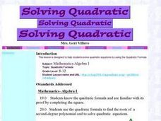 Solving Quadratic Lesson Plan