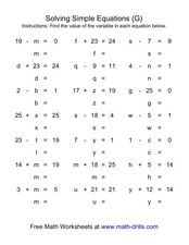 Solving Simple Equations (G) Worksheet