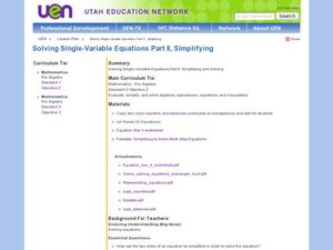 Solving Single-Variable Equations Part II, Simplifying Lesson Plan