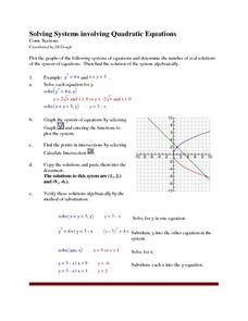 Solving Systems Involving Quadratic Equations Lesson Plan