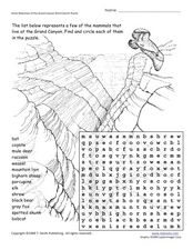 Some Mammals of the Grand Canyon Word Search Puzzle Worksheet