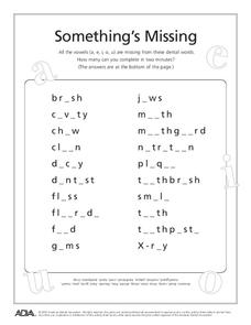 Something's Missing Worksheet